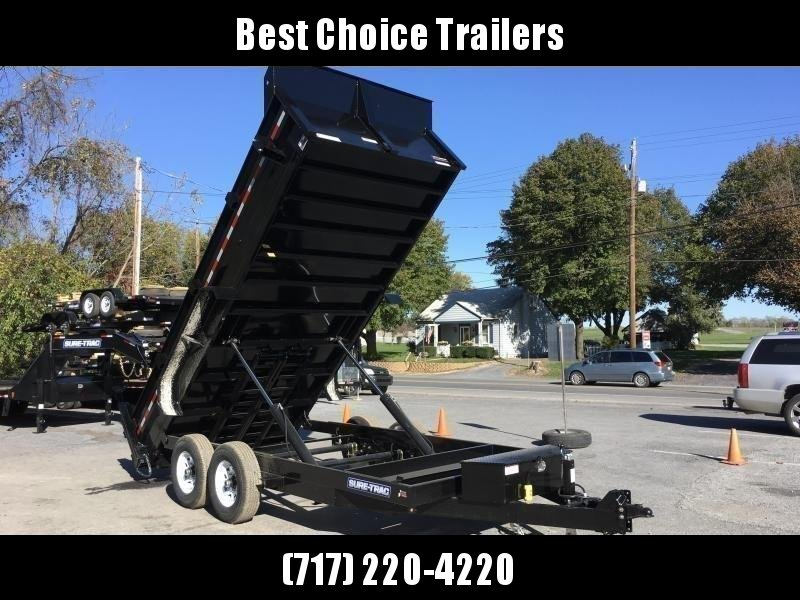 "2019 Sure-Trac 7x16' Dump Trailer 14000# GVW * OVERSIZE 4X42"" DUAL PISTON * FRONT/REAR BULKHEAD * INTEGRATED KEYWAY * 2' SIDES * UNDERBODY TOOL TRAY * ADJUSTABLE COUPLER * 110V CHARGER * UNDERMOUNT RAMPS * COMBO GATE * 7K JACK * CLEARANCE"