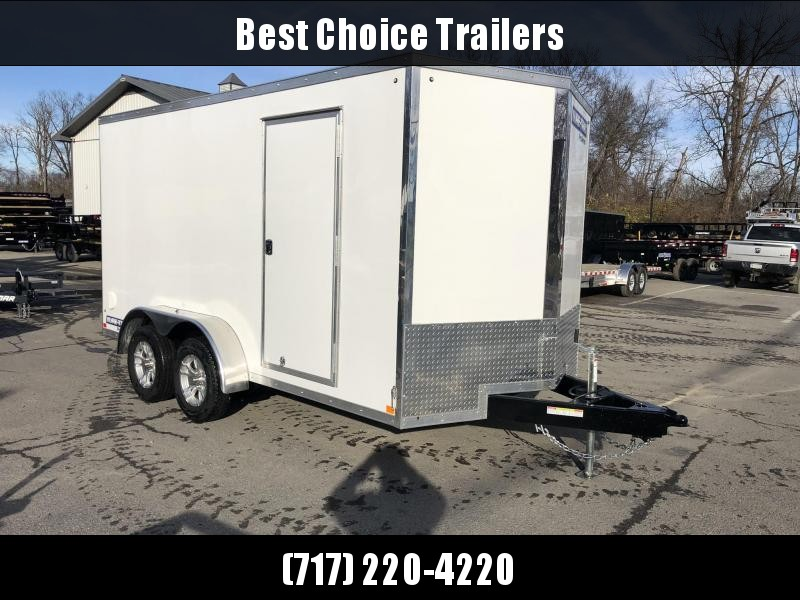 "2020 Sure-Trac 7x14' Enclosed Cargo Trailer 7000# GVW * WHITE * SCREWLESS * ALUMINUM WHEELS * 16"" OC * RV DOOR * TUBE STUDS * 6"" FRAME"