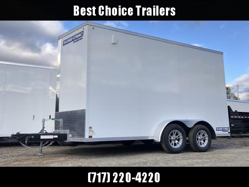 "2020 Sure-Trac 7x14' Enclosed Cargo Trailer 7000# GVW * WHITE * SCREWLESS * ALUMINUM WHEELS * 16"" OC * RV DOOR * TUBE STUDS * 6"" FRAME"