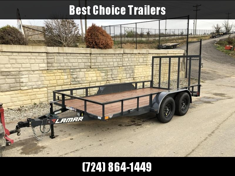 "USED 2019 Lamar 77""x14' Utility Landscape Trailer 7000# GVW * CHARCOAL * ADJUSTABLE COUPLER * SET BACK JACK * SPRING ASSIST * TUBE GATE * STAINED DECK"