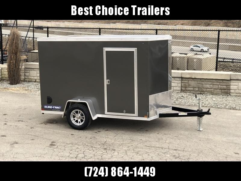 "2020 Sure-Trac 6x10' Pro Series Enclosed Cargo Trailer 2990# GVW * CHARCOAL EXTERIOR * V-NOSE * RAMP * .030 SCREWLESS EXTERIOR * ALUMINUM WHEELS * 1 PC ROOF * 4"" TUBE FRAME * 16"" O.C. WALLS * PLYWOOD * TUBE STUDS * CEILING LINER * RV DOOR"