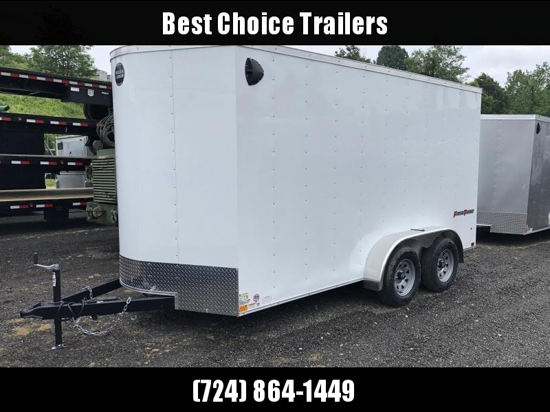 "2020 Wells Cargo 7x16' Fastrac DELUXE Enclosed Cargo Trailer 7000# GVW * WHITE EXTERIOR * RAMP DOOR * V-NOSE * .030 EXTERIOR * 7' HEIGHT - UTV PKG * TUBE STUDS * 3/8"" WALLS * 1 PC ROOF * 16"" O.C. WALLS * BULLET LED'S"