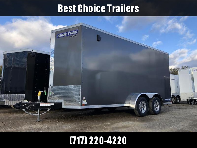 """2020 Sure-Trac 7x14' Enclosed Cargo Trailer 7000# GVW * CHARCOAL * SCREWLESS * ALUM WHEELS * 1PC ROOF * 6'6"""" H * 6"""" FRAME"""