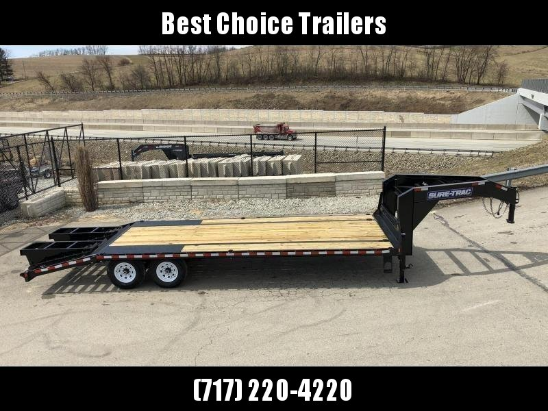 "2019 Sure-Trac 102x25' Gooseneck Beavertail Deckover Trailer 15000# GVW * FLIPOVER RAMPS+SPRING ASSIST * DUAL 12K JACKS * FULL TOOLBOX * 12"" PIERCED I-BEAM FRAME * RUBRAIL/STAKE POCKETS/PIPE SPOOLS/10 D-RINGS * CROSS TRAC * CLEARANCE"