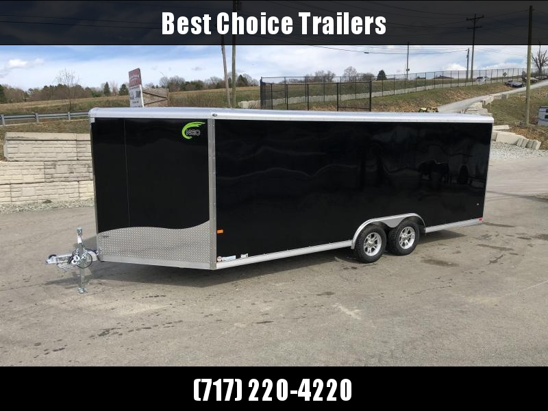 2020 NEO 8.5x20' NCBR2085 Aluminum Enclosed Car Hauler Trailer 7000# * ROUND TOP * NUDO FLOOR & RAMP * ALUMINUM WHEELS * SILVER * VINYL WALLS