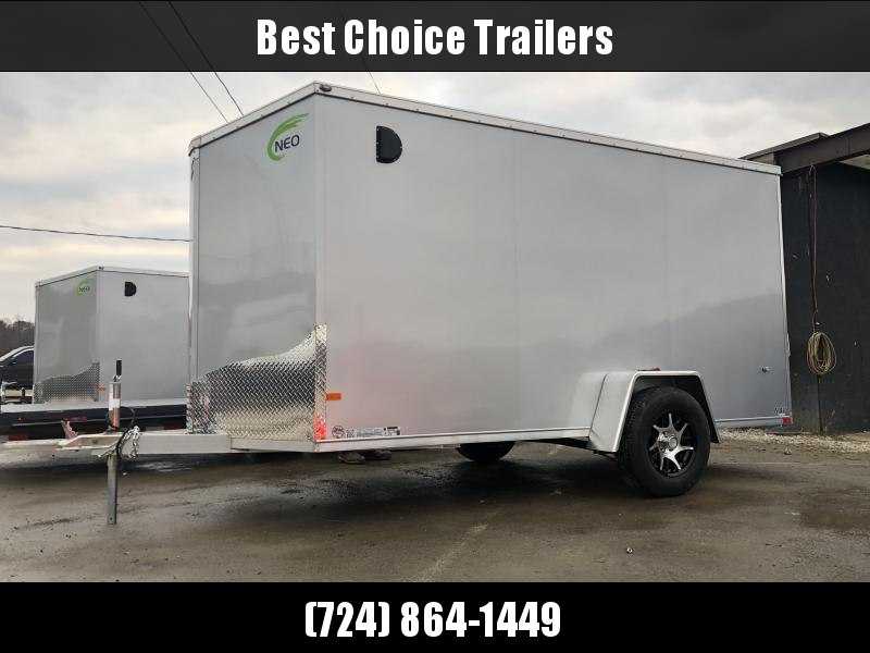 2020 Neo 6x12' NAVF Aluminum Enclosed Cargo Trailer * RAMP DOOR * SILVER * ALUMINUM WHEELS