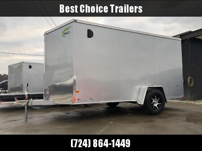 2020 Neo 6x12' NAVF Aluminum Enclosed Cargo Trailer * RAMP DOOR * SILVER * ALUMINUM WHEELS