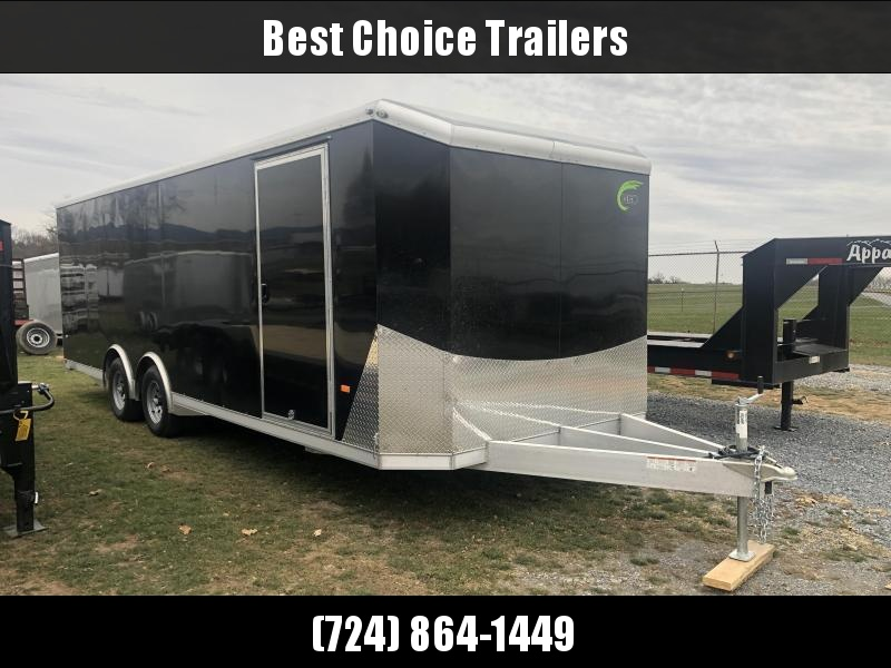2020 NEO 8.5x24' NACX Aluminum Enclosed Car Hauler Trailer 9990# GVW * SILVER EXTERIOR * ESCAPE DOOR * 5200# TORSION * BULLNOSE * SPREAD AXLE * DRT REAR SPOILER * NXP RAMP * ROUND TOP * HD FRAME * ALUMINUM WHEELS * RV DOOR * 1 PC ROOF
