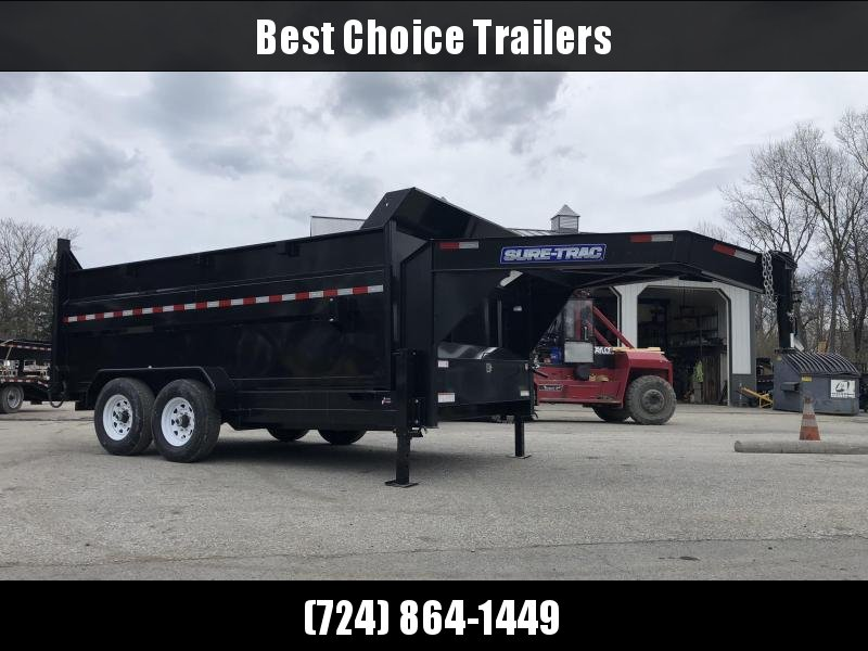 2019 Sure-Trac 7x14' Gooseneck High Side Dump Trailer 14000# GVW * 4' HIGH SIDES * I-BEAM NECK * FULL FRONT TOOLBOX * DUAL JACKS * DUAL PISTON * FRONT/REAR BULKHEAD * INTEGRATED KEYWAY * UNDERBODY TOOL TRAY * 110V CHARGER * COMBO GATE * CLEARANCE