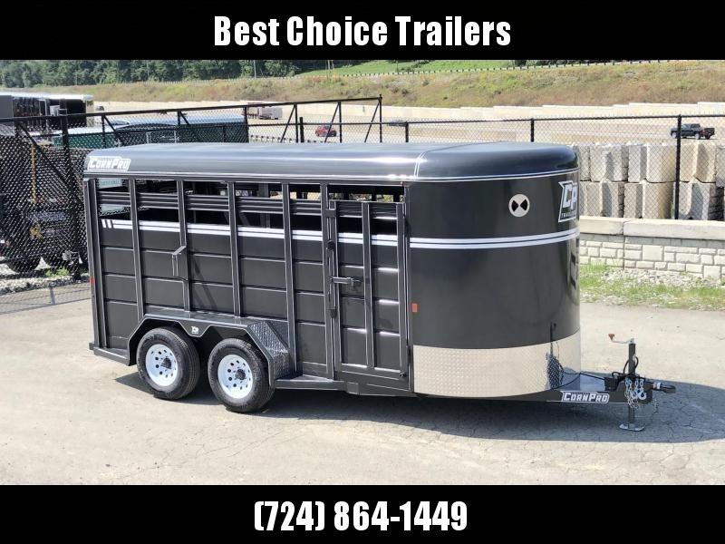 2020 Corn Pro 16' Livestock Trailer 7000# GVW * GREY * TORSION