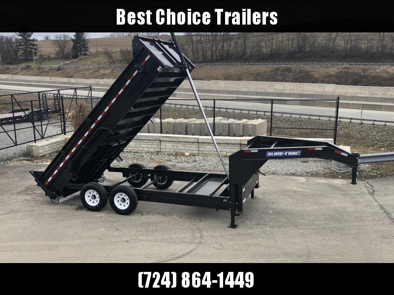 2020 Sure-Trac 7x16' 14000# Low Profile HD GOOSENECK Dump Trailer * TELESCOPIC HOIST