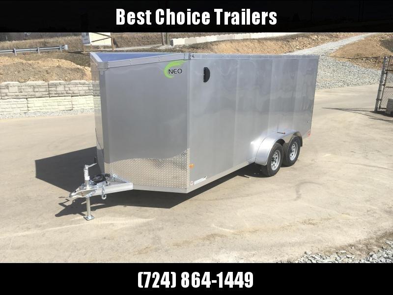 2020 Neo 7x16 NAVF Aluminum Enclosed Cargo Trailer * RAMP DOOR * SILVER EXTERIOR * ALUMINUM WHEELS