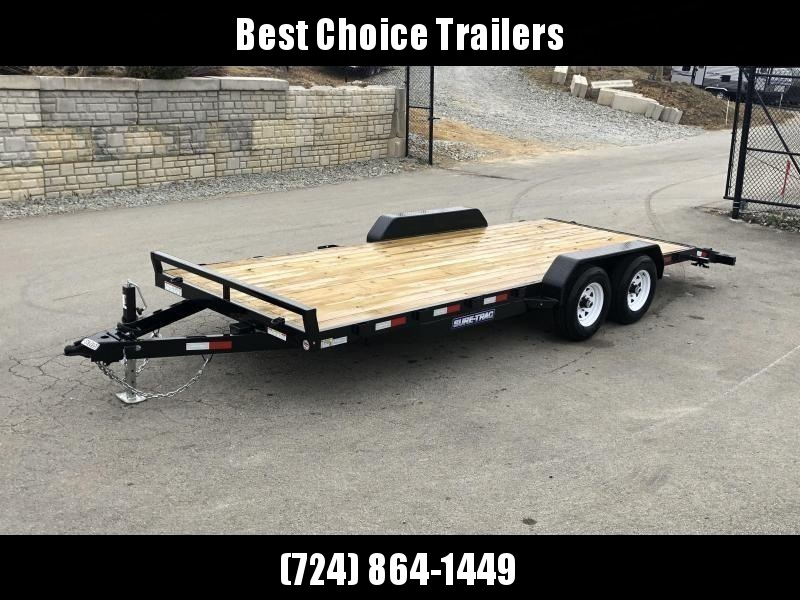 2019 Sure-Trac 7x20 Wood Deck Car Hauler 9900# GVW * REAR SLIDE OUT PUNCH PLATE FINGERJOINTED RAMPS * DIAMOND PLATE FENDERS * SEALED WIRING HARNESS * 7K JACK * STAKE POCKETS/D-RINGS * DIAMOND PLATE DOVETAIL * CLEARANCE