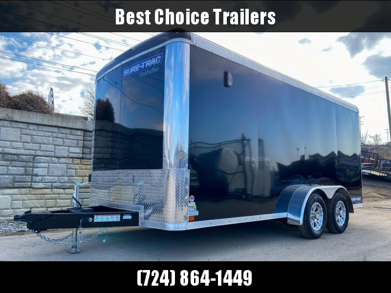 "2020 Sure-Trac 7x16' Pro Series Enclosed Cargo Trailer 7000# GVW * BLACK EXTERIOR * .030 SCREWLESS EXTERIOR * ROUND TOP * ALUMINUM WHEELS * 1 PC ROOF * 6'6"" HEIGHT * 6"" FRAME * 16"" O.C. C/M * PLYWOOD * TUBE STUDS"