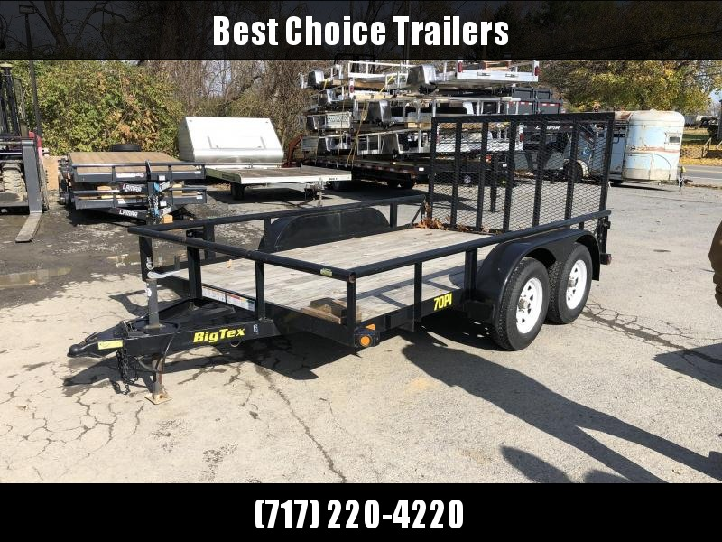 USED 2014 Big Tex 7x12' Tandem Axle Utility Landscape Trailer 2990# GVW * OVERSIZE FRAME * PIPE TOP * TRIPLE TUBE TONGUE