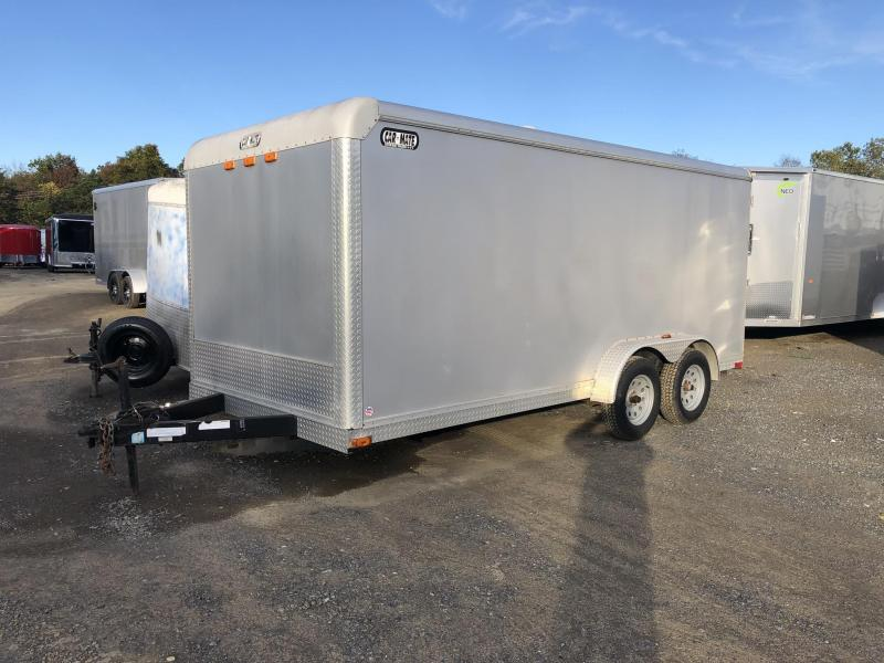 USED 2004 Car Mate 7x16' Enclosed Cargo Trailer 7000# GVW * SILVER * SCREWLESS * TORSION * 1PC ROOF * RAMP
