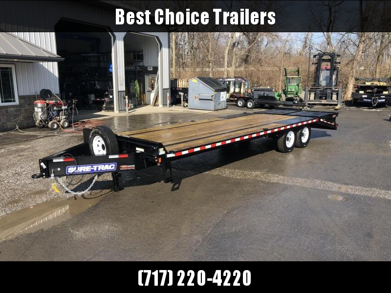 """2020 Sure-Trac 102x25' HD Beavertail Deckover Trailer 15000# GVW * FULL WIDTH RAMPS (STAND UP OR FLIPOVER) * 12"""" I-BEAM MAINFRAME * PIERCED FRAME * RUBRAIL/STAKE POCKETS/PIPE SPOOLS/10 D-RINGS * CROSS TRAC BRACING * HD DOVETAIL"""