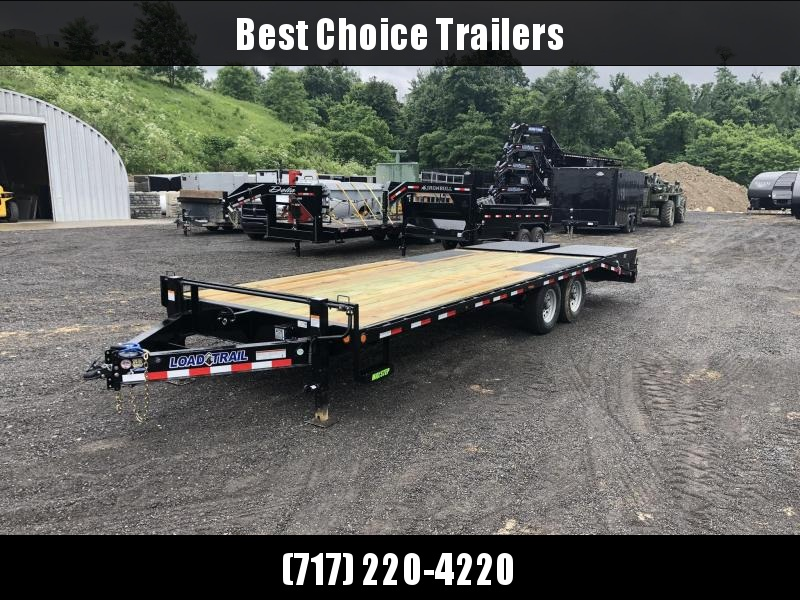 "2019 Load Trail 102x24' Load Trail Beavertail Deckover Flatbed Trailer 14000# GVW * I-BEAM FRAME * FRONT TOOLBOX * DUAL JACKS * PRIMER * DEXTER AXLES * 16"" O.C. C/M * RUBRAIL/STAKE POCKETS/PIPE SPOOLS * CLEARANCE"