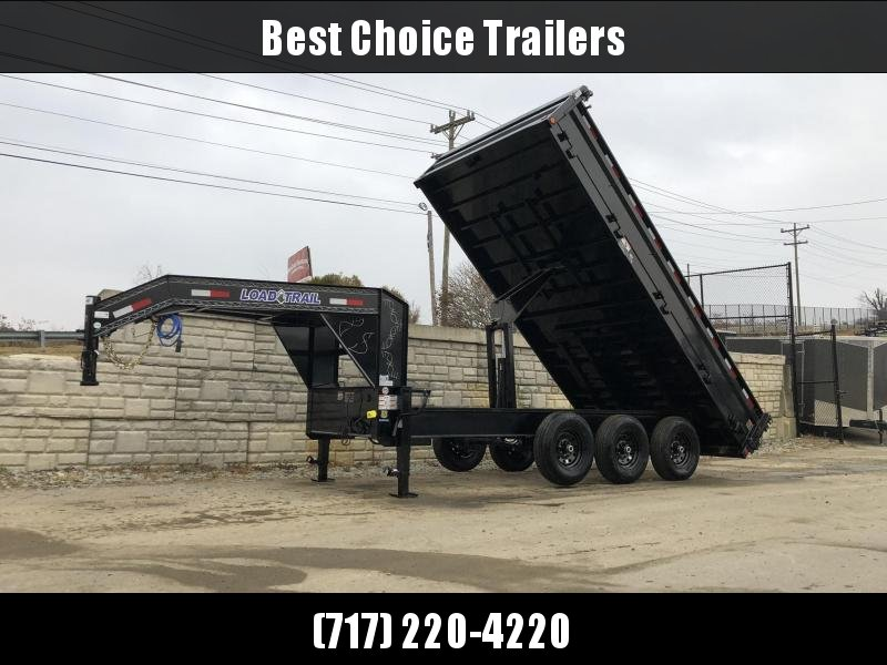 "2019 Load Trail 8x16' Gooseneck Deckover Dump Trailer 21000# GVW * TRIPLE AXLE * DUAL 12K JACKS * FULL TOOLBOX * 10"" I-BEAM FRAME * TARP KIT * 5X20 SCISSOR HOIST * FOLD DOWN SIDES * 3-WAY GATE * 6"" TUBE BED FRAME * 10GA SIDES/FLOOR * CLEARANCE"