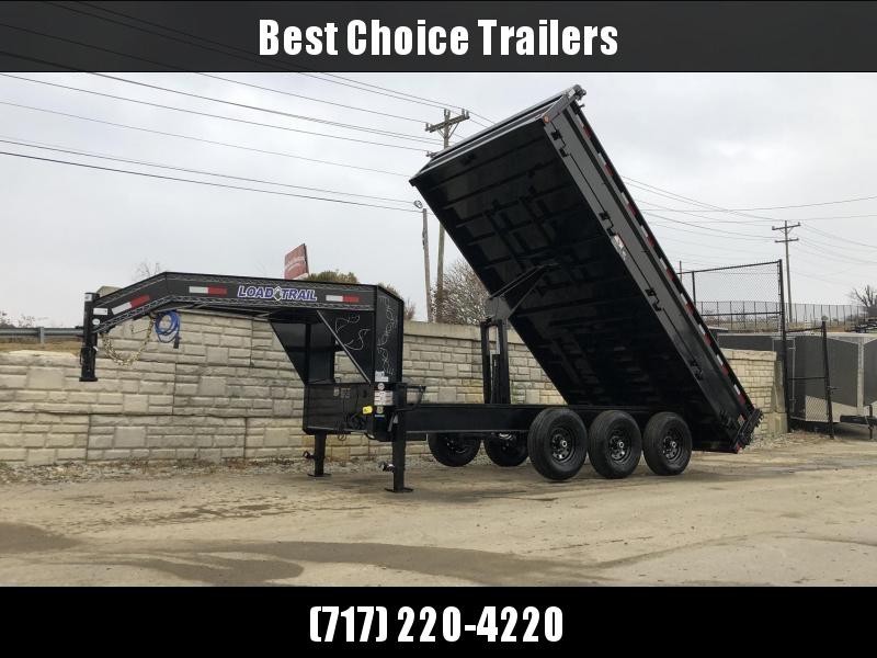 "2019 Load Trail 8x16' Gooseneck Deckover Dump Trailer 21000# GVW * TRIPLE AXLE * DUAL 12K JACKS * FULL TOOLBOX * 10"" I-BEAM FRAME * TARP KIT * 5X20 SCISSOR HOIST * FOLD DOWN SIDES * 3-WAY GATE * 6"" TUBE BED FRAME * 10GA SIDES/FLOOR * CLEARANCE"
