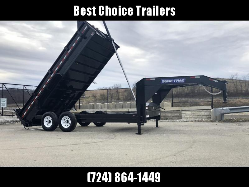 2020 Sure-Trac 7x16' 16000# Low Profile HD GOOSENECK Dump Trailer * TELESCOPIC HOIST * 8000# AXLE UPGRADE