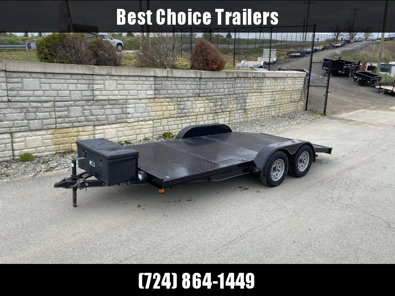 USED 2017 Quality 7x16' 7000# GVW Steel Deck Car Trailer * TOOLBOX * D-RINGS * SLIDE OUT RAMPS * WINCH *