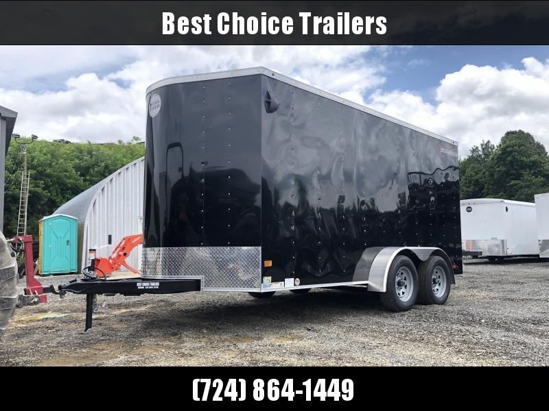 "2019 Wells Cargo 7x14' Fastrac Deluxe Enclosed Cargo Trailer 7000# GVW * BLACK EXTERIOR * RAMP DOOR * V-NOSE * .030 EXTERIOR * 7' HEIGHT - UTV PKG * TUBE STUDS * 3/8"" WALLS * 1 PC ROOF * 16"" O.C. WALLS * BULLET LED'S * CLEARANCE"