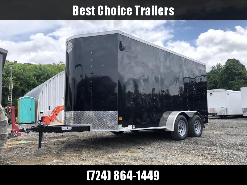 """2019 Wells Cargo 7x14' Fastrac Deluxe Enclosed Cargo Trailer 7000# GVW * BLACK EXTERIOR * RAMP DOOR * V-NOSE * .030 EXTERIOR * 7' HEIGHT - UTV PKG * TUBE STUDS * 3/8"""" WALLS * 1 PC ROOF * 16"""" O.C. WALLS * BULLET LED'S * CLEARANCE"""