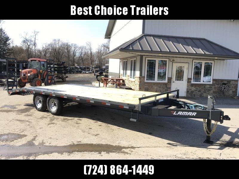 "2019 Lamar 102x22' Beavertail Deckover Trailer 14000# GVW * STAND UP RAMPS + SPRING ASSIST  * CHARCOAL * TOOL TRAY * HD COUPLER * I-BEAM FRAME * 16"" O.C. C/M * RUBRAIL/STAKE POCKETS/PIPE SPOOLS * CHANNEL SIDE RAIL * 4X8"" TUBE BUMPER * CLEARANCE"