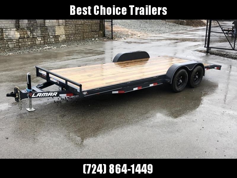 2019 Lamar 7x18' Car Hauler Trailer 9990# GVW * CHARCOAL POWDERCOATING * 7K DROP LEG JACK * CHANNEL C/M * ADJUSTABLE COUPLER * RUBRAIL * CLEARANCE