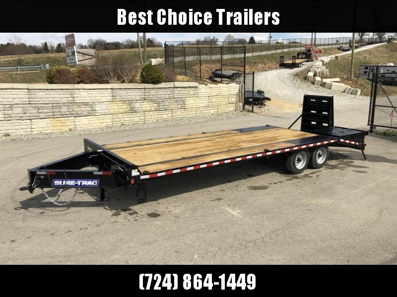"2019 Sure-Trac 102x25' HD Beavertail Deckover Trailer 17600# GVW * 8000# AXLES * 17.5"" 16-PLY TIRES * 3 3/8"" BRAKES * FULL WIDTH RAMPS (STAND UP OR FLIPOVER) * 12"" I-BEAM * PIERCED FRAME * RUBRAIL/STAKE POCKETS/PIPE SPOOLS/10 D-RINGS * CLEARANCE"