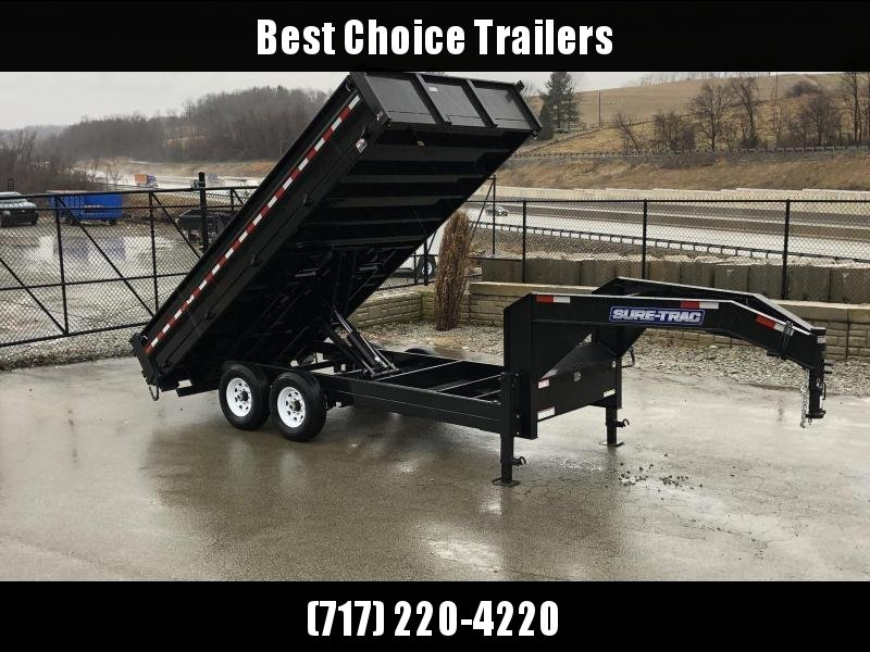 "2020 Sure-Trac 8x16' Gooseneck Deckover Dump Trailer 14000# GVW * DUAL 12K JACKS * FULL FRONT TOOLBOX * I-BEAM NECK * 20"" FOLD DOWN SIDES * EXTENDED 90"" UNDERMOUNT RAMPS * OVERSIZE 8"" TUBE TONGUE/6"" HEAVY WALL FRAME * 6"" SCISSOR HOIST"