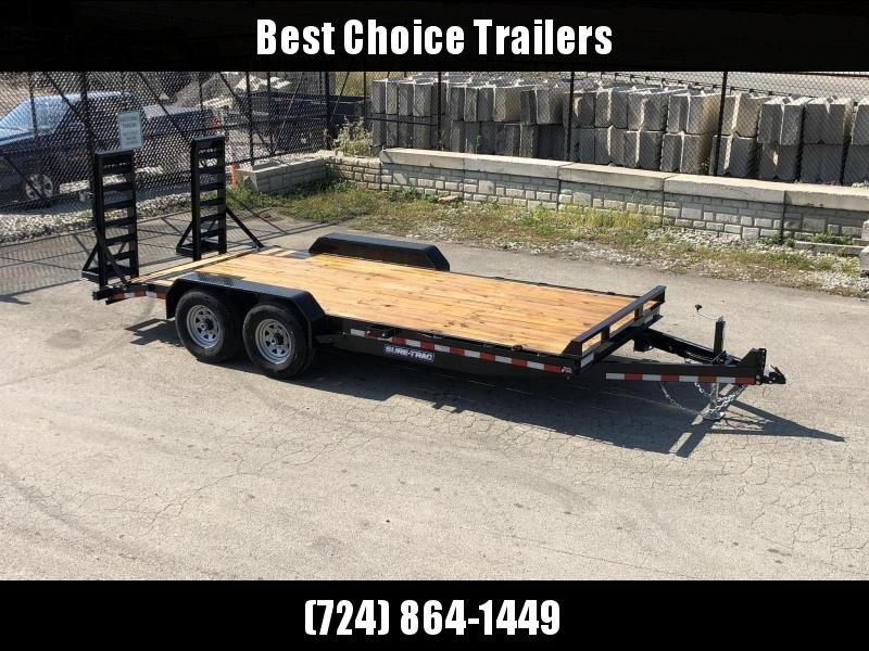 """2019 Sure-Trac 7x18' Equipment Trailer 14000# GVW * 4"""" CHANNEL RAMPS * RUBRAIL/STAKE POCKETS/D-RINGS * HD FENDERS * ADJUSTABLE CAST COUPLER * SPARE MOUNT * SEALED HARNESS * CLEARANCE"""