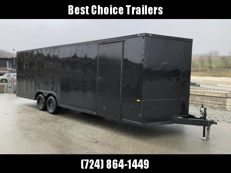 "2020 Rock Solid 8.5x20' Enclosed Car Trailer 7000# GVW * BLACKOUT PACKAGE * V-NOSE * RAMP DOOR * 16"" O.C. FLOOR/WALLS * TUBE STUDS * 6"" TUBE MAINFRAME * RV DOOR * PLYWOOD WALLS/FLOOR * LED'S * 3"" TRIM"
