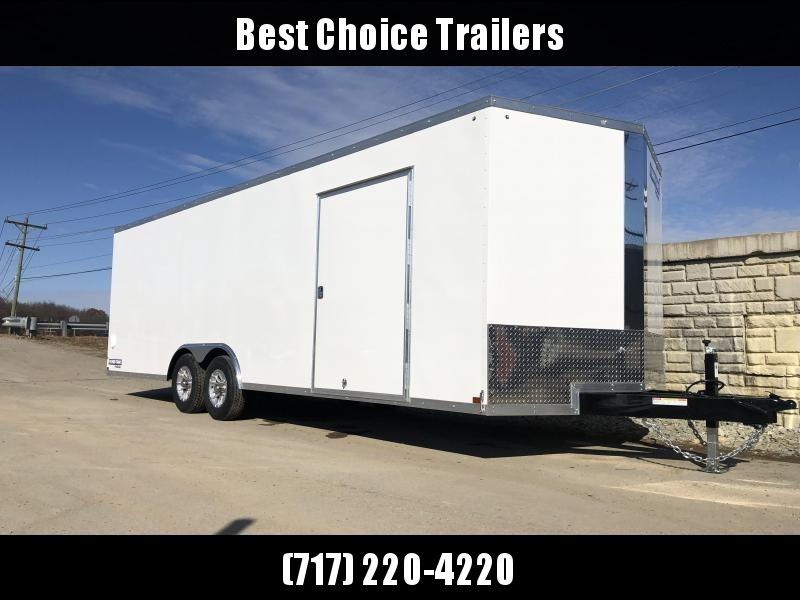 "2020 Sure-Trac 8.5x24' Pro Series Enclosed Car Hauler Trailer 9900# GVW * WHITE EXTERIOR * V-NOSE * RAMP * 5200# AXLES * .030 SCREWLESS EXTERIOR * ALUMINUM WHEELS * 1 PC ROOF * 6"" FRAME * 16"" O.C. C/M * PLYWOOD * TUBE STUDS * 48"" RV DOOR * 7K DROP JACK"