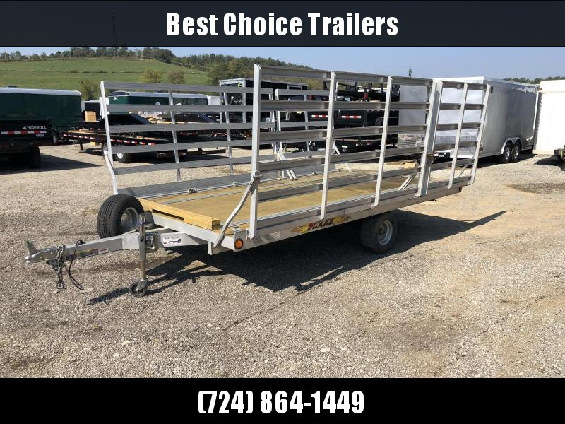 USED Blaze 3-place Aluminum ATV Hauler Trailer 2990# GVW * SIDE OR REAR LOAD * BUILT IN TIE DOWNS * SPARE TIRE
