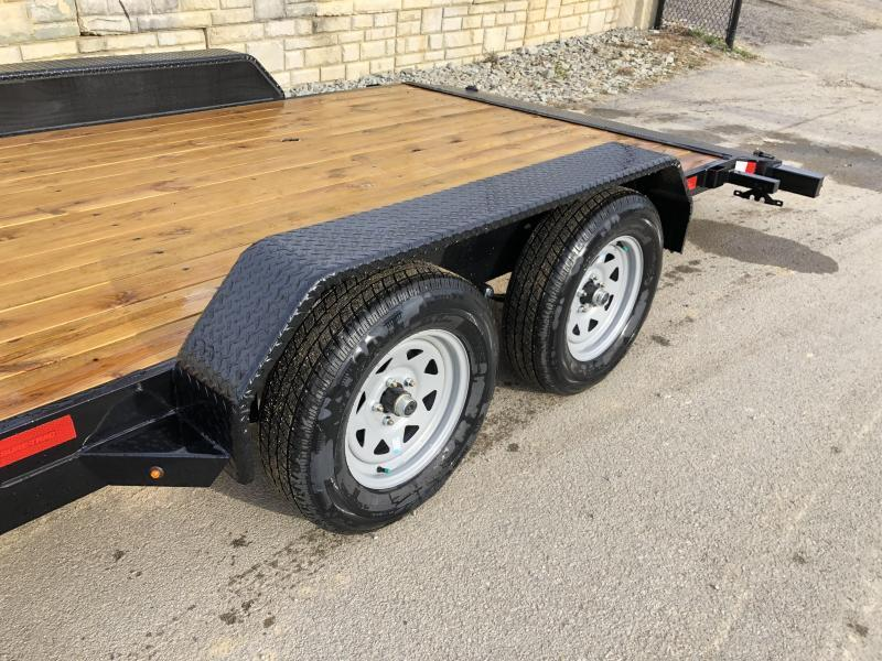 2020 Sure-Trac 7x18 Wood Deck Car Hauler 7000# GVW * REAR SLIDE OUT PUNCH PLATE FINGERJOINTED RAMPS * DIAMOND PLATE FENDERS * SEALED WIRING HARNESS * SET BACK JACK * STAKE POCKETS/D-RINGS * DIAMOND PLATE DOVETAIL