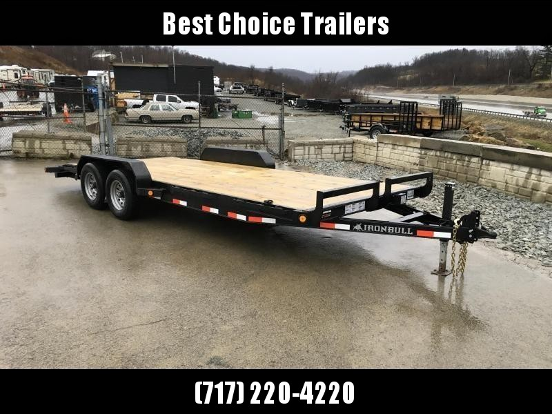 "2018 Ironbull 7x18' Wood Deck Car Hauler Trailer 9990# GVW * OVERWIDTH RAMPS * 16"" O.C. FLOOR * CHANNEL C/M * RUBRAIL/STAKE POCKETS/PIPE SPOOLS/D-RINGS * CLEARANCE - FREE ALUMINUM WHEELS"