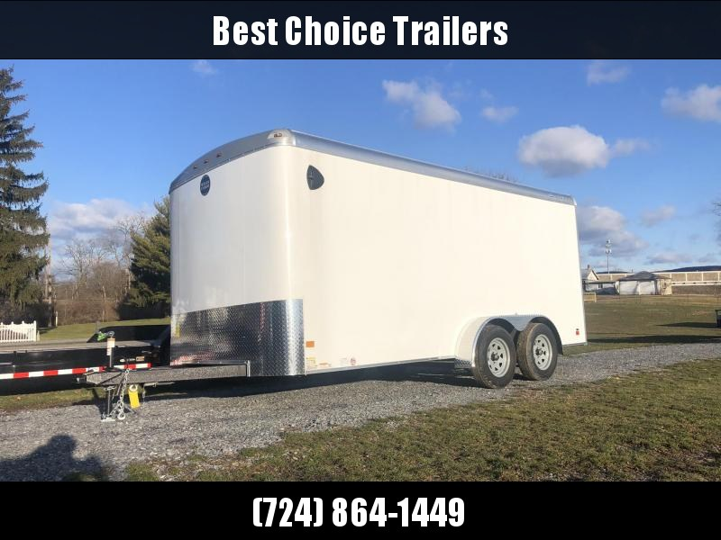 "2020 Wells Cargo 7x16' Road Force Enclosed Cargo Trailer 7000# GVW * WHITE EXTERIOR * RAMP DOOR * ROUND TOP * SCREWLESS .030 EXTERIOR * 6'6"" HEIGHT * TUBE STUDS * 1 PC ROOF * 16"" O.C. WALLS/FLOOR * RV DOOR * ARMOR GUARD * BULLET LED'S"