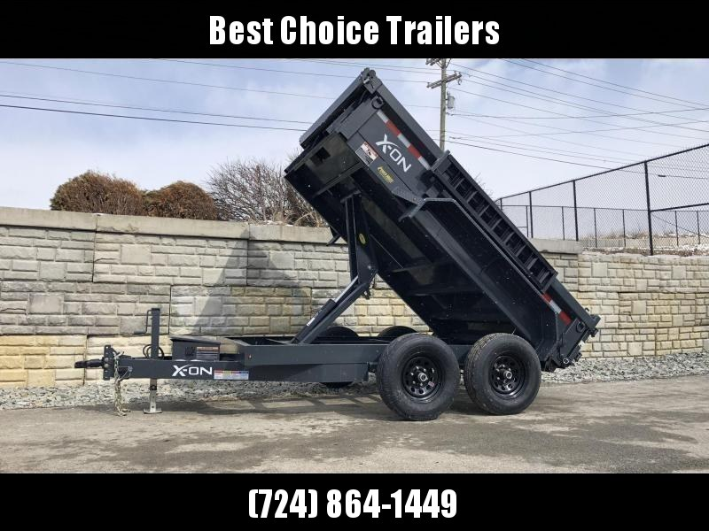 2019 X-on 6X10' Low Profile Dump Trailer 9990# GVW * TARP KIT * SCISSOR * 3 WAY GATE * 10 GA SIDES & FLOOR * 110V CHARGER * CAST COUPLER * DROP LEG JACK * CLEARANCE