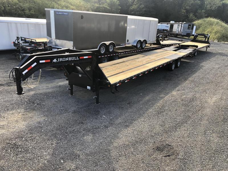 2020 Ironbull 102x40' Gooseneck Beavertail Flatbed Deckover 25990# GVW * HOT SHOT * 12K DEXTERS * HDSS SUSPENSION * 8' SLIDE IN RAMPS * PIERCED FRAME * SPARE TIRE * UNDER FRAME BRIDGE