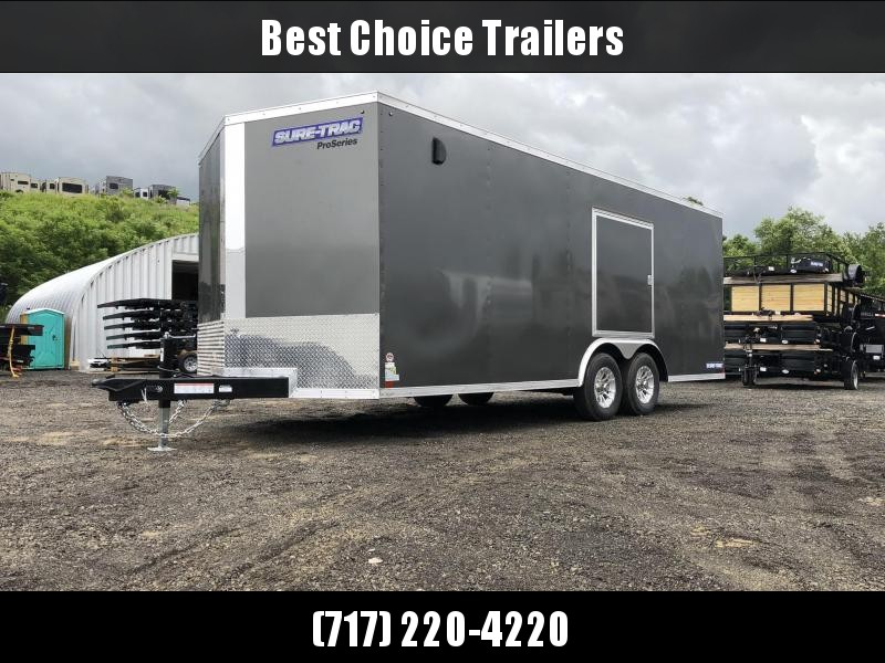 2019 Sure-Trac 8.5x20' Deluxe Pro Series Enclosed Car Hauler Trailer 9900# GVW * WHITE EXTERIOR * V-NOSE * RAMP * 5200# TORSION AXLES * NUDO FLOOR & RAMP * VINYL WALLS * ESCAPE HATCH * .030 SCREWLESS EXTERIOR * ALUMINUM WHEELS * 1 PC ROOF * CLEARANCE