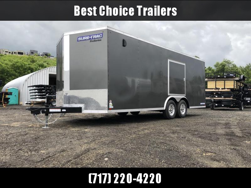"""2019 Sure-Trac 8.5x20' Enclosed Car Trailer 9900# GVW * DELUXE * WHITE * 7K JACK * ESCAPE HATCH * FINISHED WALLS * NUDO FLOOR & RAMP * TORSION * 48"""" DOOR & MORE * CLEARANCE"""