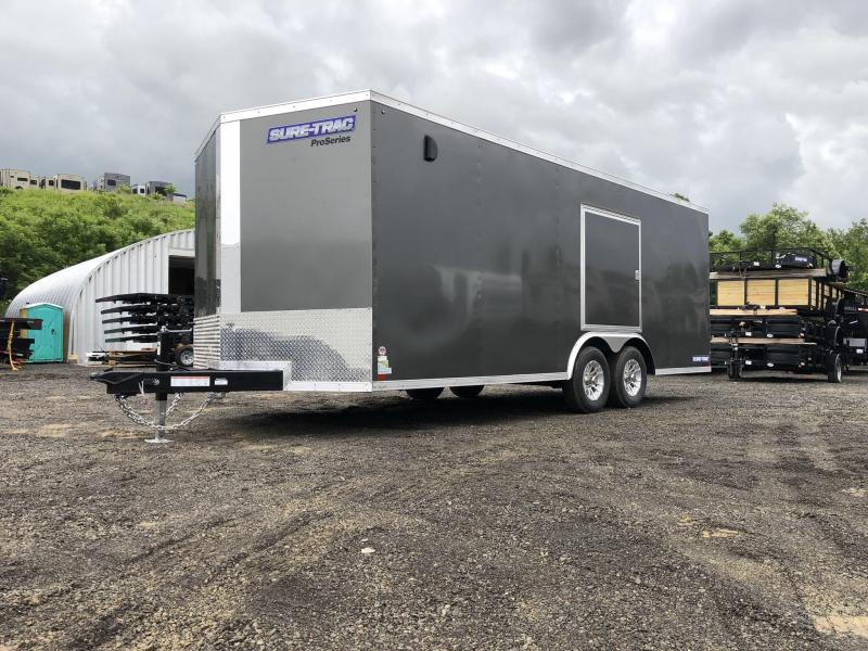"2019 Sure-Trac 8.5x20' Enclosed Car Trailer 9900# GVW * DELUXE * WHITE * 7K JACK * ESCAPE HATCH * FINISHED WALLS * NUDO FLOOR & RAMP * TORSION * 48"" DOOR & MORE"