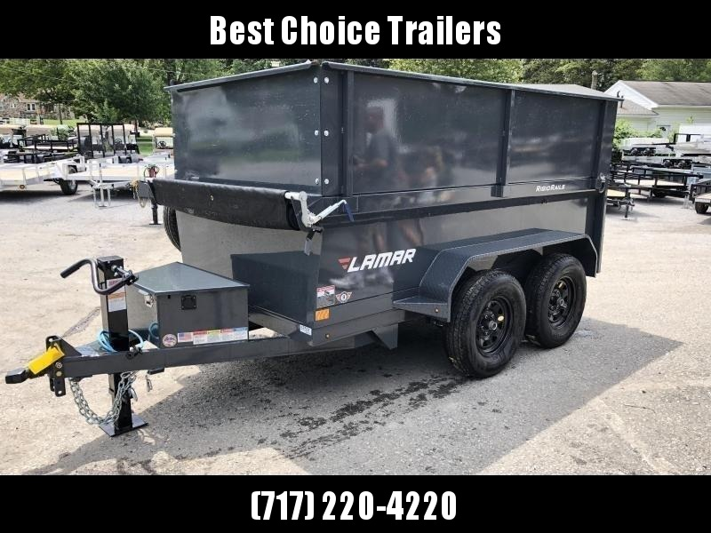 2020 Lamar 5x10' High Side Dump Trailer 7000# GVW * 2' SIDE EXTENSIONS * DELUXE TARP KIT * 12K JACK UPGRADE * SPARE TIRE + MOUNT * UNDERMOUNT RAMPS * CHARCOAL * ADJUSTABLE COUPLER * RIGID RAILS * 110V CHARGER * DOUBLE CHANNEL FRAME * 10GA FLOOR