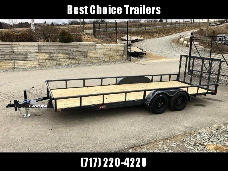 "2020 Lamar 7x18' Deluxe Utility Landscape Trailer 7000# GVW * ADJUSTABLE COUPLER * PIPE TOP RAIL * 7K DROP LEG JACK * CHARCOAL * HD GATE/2X2"" TUBE C/M + SPRING ASSIST * COLD WEATHER HARNESS * 4"" CHANNEL TONGUE * STAKE POCKETS * TEARDROP FENDERS * BULLET L"