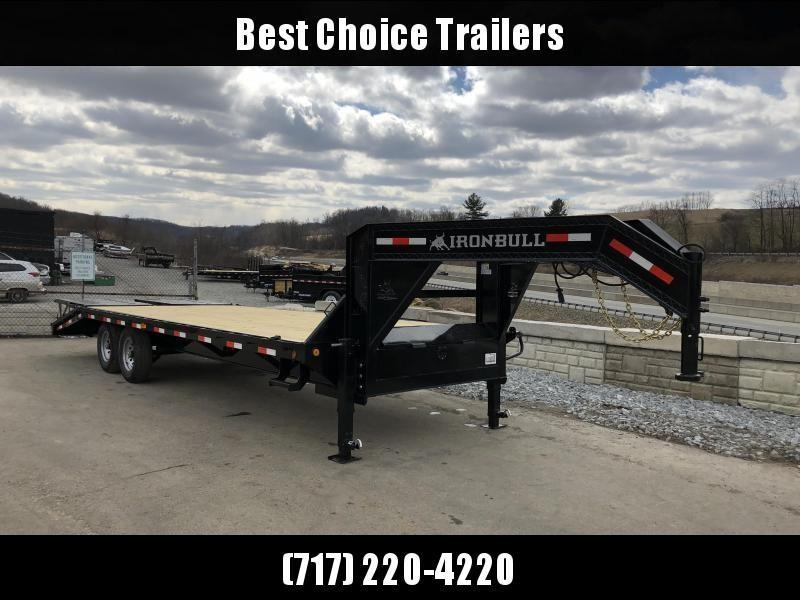 2019 Ironbull 102x20+5' Gooseneck Beavertail Flatbed Deckover  14000# GVW * FULL WIDTH RAMPAGE RAMPS * I-BEAM FRAME * RUBRAIL/STAKE POCKETS/PIPE SPOOLS/D-RINGS * DUAL JACKS * FULL TOOLBOX * DEXTER'S