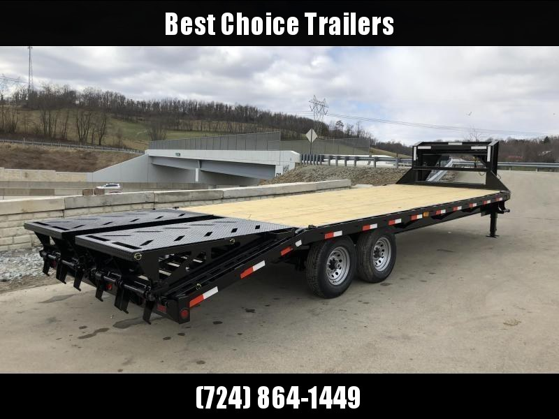 2019 Ironbull 102x20+5' Gooseneck Beavertail Flatbed Deckover  14000# GVW * FULL WIDTH RAMPAGE RAMPS * I-BEAM FRAME * RUBRAIL/STAKE POCKETS/PIPE SPOOLS/D-RINGS * DUAL JACKS * FULL TOOLBOX * DEXTER'S * CLEARANCE