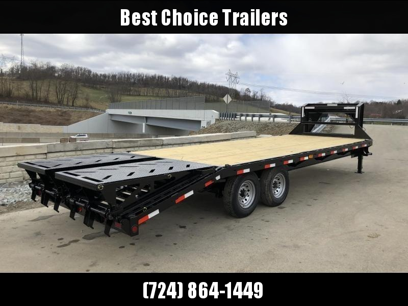 "2019 Ironbull 102x25' Gooseneck Deckover 14000# GVW * FULL WIDTH RAMPAGE RAMPS * 10"" I-BEAM FRAME * RUBRAIL/STAKE POCKETS/PIPE SPOOLS/D-RINGS * DUAL JACKS * FULL TOOLBOX * TUBE SIDE RAIL * DEXTER'S * 2-3-2 WARRANTY * CLEARANCE"