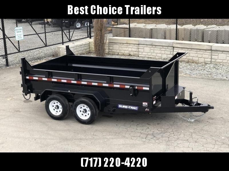 "2020 Sure-Trac 7x12' Dump Trailer 9900# GVW * DUAL PISTON * 2' SIDES * UNDERMOUNT RAMPS * COMBO GATE * 7K DROP LEG JACK * FRONT/REAR BULKHEAD * INTEGRATED KEYWAY * SPARE MOUNT * DOUBLE BROKE FENDERS * 4"" TUBE BEDFRAME * TRIPLE TUBE TONGUE"